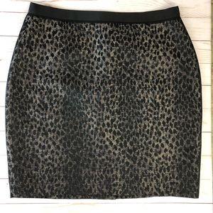 Ann Taylor Metallic Leopard Pencil Skirt